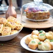 cake, kitchen tea, snacks