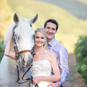 horse, bride and groom
