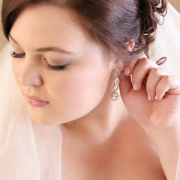 makeup, veil, earrings
