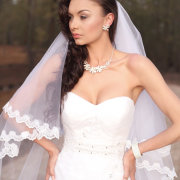 bracelet, necklace, veil, earrings