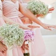 bouquet, bridesmaid dress, nails