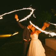 bride and groom, sparklers