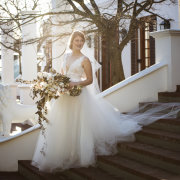 bouquet, bride, wedding dress