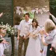 bride and groom, confetti