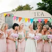 bridesmaids, vintage, vintage car, bouquet, bridesmaid dress