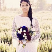 bouquet, field, headpiece, wedding dress