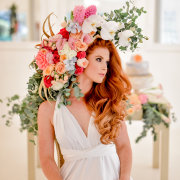 flowers, hairstyle, wedding dress