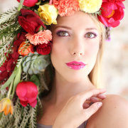 flowers, hairstyle, headpiece, makeup