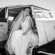 car, veil, wedding dress