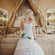 bouquet, wedding dress
