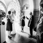 black and white, bride and groom, chapel