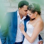 bride and groom, suit, tiara, wedding dress