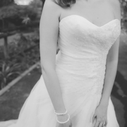 bride, wedding dress, beaded, black and white