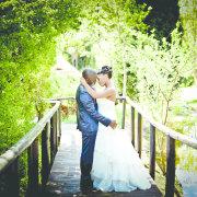 bride and groom, bridge