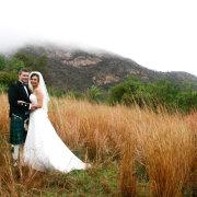 bride and groom, bushveld, mountain