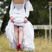 garter, shoes, wedding dress