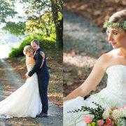 bouquet, flower crown, wedding dress