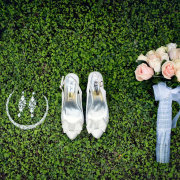 bouquet, shoes, tiara