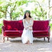 headpiece, seating, wedding dress