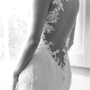 black and white photography, lace, open back wedding dress, wedding dress