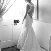 black and white photography, bride, open back wedding dress, wedding dress