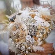 accessories, bouquet, feathers, pearl white