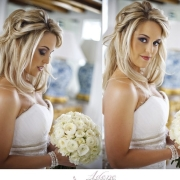 wedding dress, hairstyle, bouquet, makeup