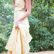 bridal wear, design, open back wedding dress, wedding dress, yellow