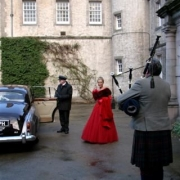 bagpiper, car, wedding dress