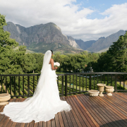 mountain, veil, wedding dress