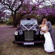 bride and groom, vintage car