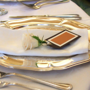 cutlery, name cards, table