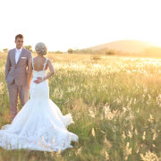 bride and groom, field, wedding dress