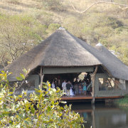 dam, venue, thatch roof