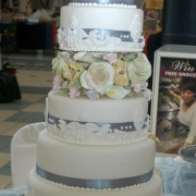 floral accents, silver, white, 6 tier cake, six tier cake
