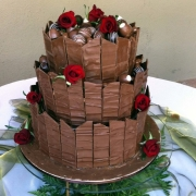 3 tier cake, chocolate, chocolate balls, three tier cake