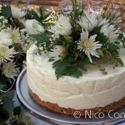 cheesecake, flowers, white