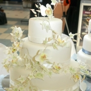 3 tier cake, floral accents, three tier cake, white