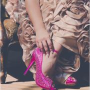 brides shoes, diamante, red