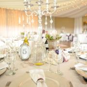 flowers, glassware, table