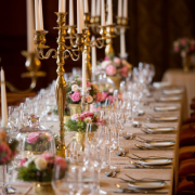 candles, flowers, glassware, table