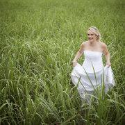 bride, field, countryside, wedding dress