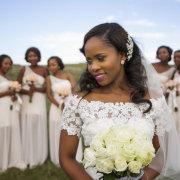 bouquet, bride, makeup, bridesmaids dress, hairstyle, headpiece