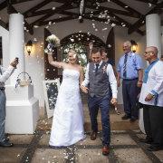 confetti, bride and groom