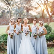 bouquet, bridesmaid dress, wedding dress