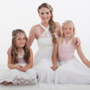 flower girls, headpiece, wedding dress