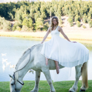 horse, wedding dress