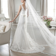 veil, wedding dress