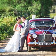 bouquet, bride and groom, vintage car