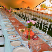 centrepiece, decor, marquee, outdoor reception, table setting